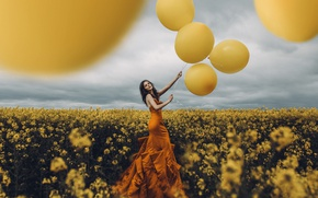 Картинка девушка, шары, Adam Bird, It was all yellow