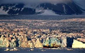 Картинка корабль, льды, заполярье