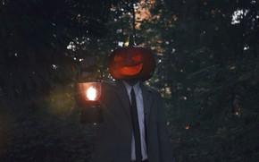 Картинка человек, лампа, тыква