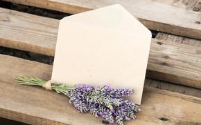 Картинка письмо, цветы, скамейка, букет, love, wood, flowers, лаванда, romantic, lavender