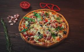 Картинка еда, перец, пицца, томат, начинка, ветчина