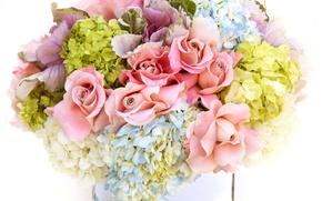 Картинка цветы, розы, букет, ваза, гортензия