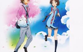 Картинка лето, весна, галстук, art, школьники, Shigatsu wa Kimi no Uso, Твоя апрельская ложь, Aya Takano, …