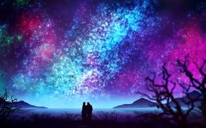 Картинка небо, вода, ночь, природа, пара, by kvacm
