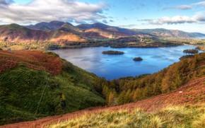 Обои облака, долина, HDR, лес, деревья, Cumbria, Франция, горы, небо, озёра