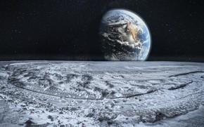 Картинка поверхность, земля, луна