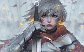 Обои girl, sword, fantasy, rain, armor, eyes, art, tattoo, face, painting, artwork, warrior, fantasy art, Knight, ...
