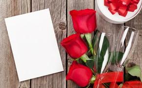 Картинка любовь, цветы, подарок, розы, букет, бокалы, красные, red, love, wood, flowers, romantic, Valentine's Day, gift, …