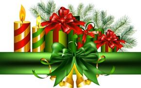 Картинка украшения, свечи, Новый Год, подарки, бант, колокольчики, New Year, Happy