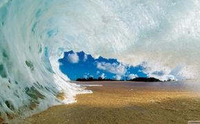 Картинка песок, небо, облака, волна