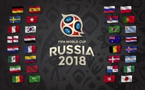 Картинка Спорт, Футбол, Флаги, Россия, 2018, Страны, ФИФА, FIFA, ЧМ 2018, Россия 2018, FIFA World Cup …