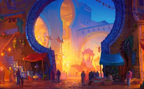 Картинка fantasy, art, Market, people, digital art, buildings, artwork, fantasy art, arabic, goods, Cathleen McAllister, stalls, …