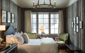 Картинка дизайн, кровать, подушки, окно, спальня