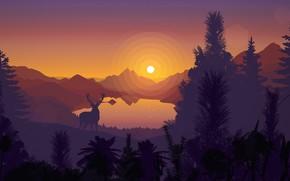 Картинка закат, горы, озеро, вектор, олень, силуэт, открытка