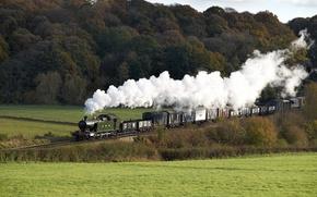 Обои поезд, вагоны, паровоз, дым, природа