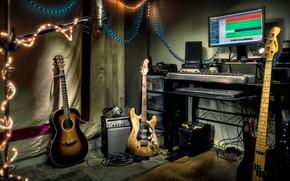 Картинка музыка, гитары, инструменты, студия