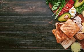 Обои зелень, курица, хлеб, мясо, овощи, соус, сэндвич, eggs, тосты, авокадо, бутерброды, tomato, sandwich, chicken, ингредиенты
