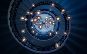 Картинка спираль, фонари, лестница