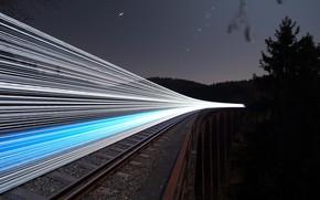 Картинка ночь, мост, огни, железная дорога