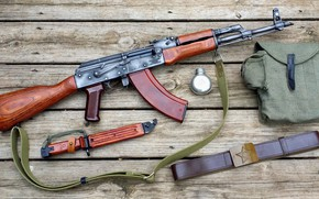 Обои AK-47, автомат, ремень, AKM, штык нож