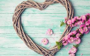 Картинка цветы, ветки, сердце, love, розовые, бутоны, heart, wood, pink, flowers, romantic
