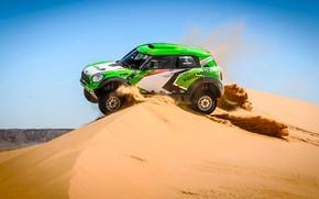 Обои Песок, Mini, Пыль, Спорт, Зеленый, Скорость, Гонка, День, Холмы, Rally, Ралли, Дюна, Raid, MINI Cooper, ...