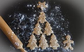 Картинка печенье, Рождество, Новый год, ёлка, скалка, формочки
