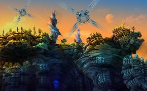 Картинка небо, деревья, скалы, планета, башни, moon drone