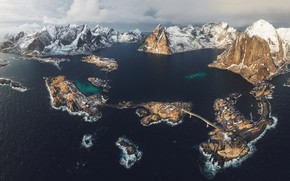 Картинка зима, море, снег, горы, скалы, фьорд, Лофотенские острова