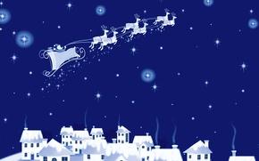 Картинка зима, Рождество, домики, сани, Санта Клаус, олени, открытка