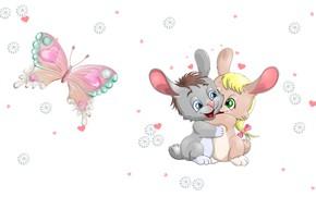 Картинка ромашка, арт, зайчик, сердечко, детская, обнимашки