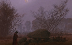 Картинка пейзаж, камень, картина, Луна, Каспар Давид Фридрих, Прогулка в Сумерках
