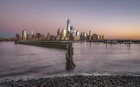 Картинка закат, город, Manhattan