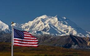 Картинка mountains, snow, flag