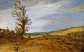 Картинка пейзаж, дерево, масло, картина, Дюны, Эсайас ван де Велде