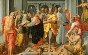 Картинка масло, картина, холст, мифология, Пеллегрино Тибальди, Встреча Марии и Елизаветы