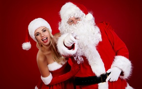 Обои Дед Мороз, восторг, шуба, Новый год, макияж, шапка, красотка, рождество, блондинка, фон, радость, Санта Клаус, ...
