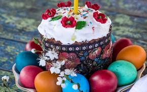 Обои Пасха, декор, вишня, маки, свеча, крашенки, кулич