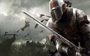 Обои небо, оружие, доспехи, бой, Воин, битва, рыцарь