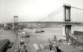 Картинка мост, ретро, река, корабль, Нью-Йорк, США, 1908-й год