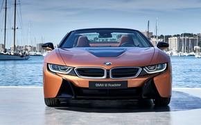 Картинка Roadster, вид спереди, гавань, 2018, BMW i8