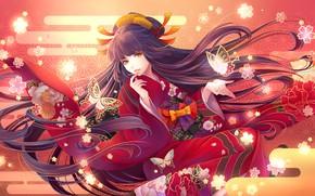 Картинка девушка, аниме, арт, юката