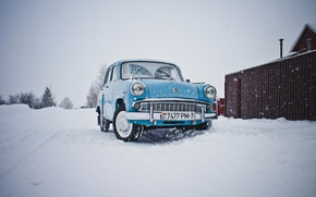 Картинка машина, снег, Москвич 407