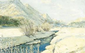 Обои пейзаж, горы, ручей, картина, Georgy Lapchin, Георгий Лапшин, Долина в Снегу