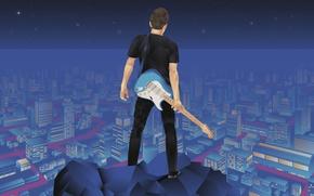 Картинка город, человек, гитара, дома, звёзды, retouch, light years