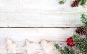 Картинка украшения, ягоды, праздник, новый год, сердечки, ветки ели
