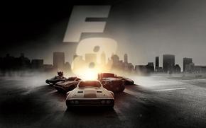 Обои триллер, The Fate of the Furious, боевик, тачки, город, Форсаж 8, свет, криминал, постер