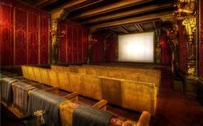 Обои экран, ряд, кресло, кино, зал, кинотеатр, фильмы