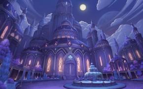 Обои арт, Night Castle, yong-jin lee, луна, ночь, дворец, фонтан, fantasy