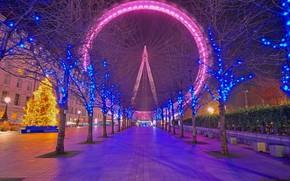 Картинка ночь, огни, праздник, Англия, Лондон, Рождество, колесо обозрения